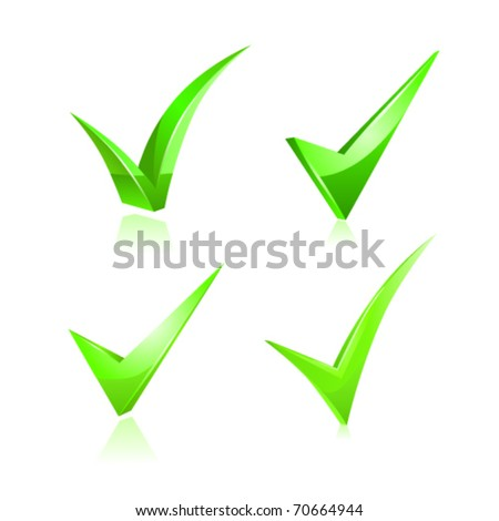 Vector green checkmark set