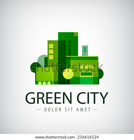 vector green city  buildings