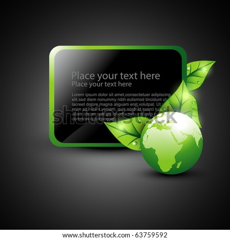 vector green earth with leaf