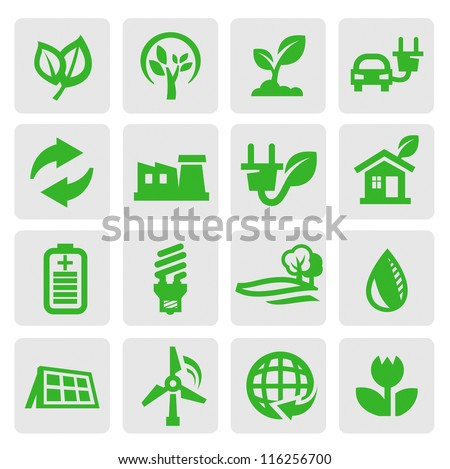 vector green eco energy icons set on gray