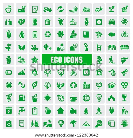 vector green eco icons set on