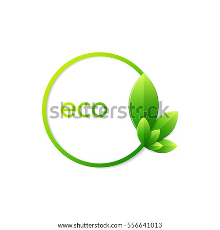 Vector green ecology icon. Leaf icon.