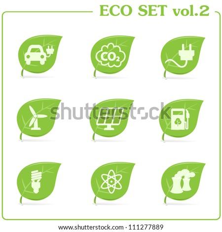 vector green ecology icon set