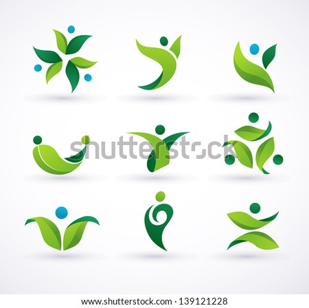 Vector green ecology people icons and symbols