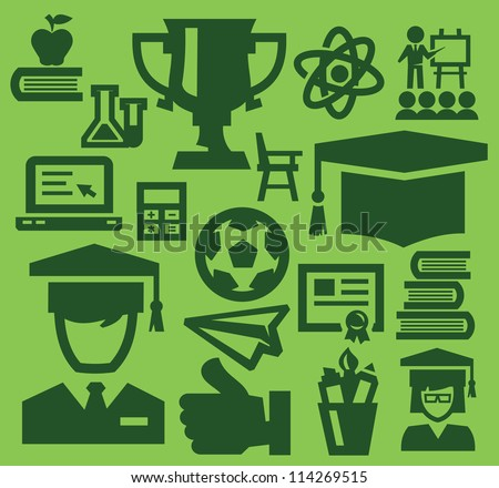 vector green education icon set on green
