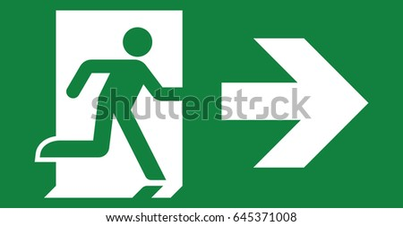Vector green exit sign. Running man icon. Arrow pointing right.