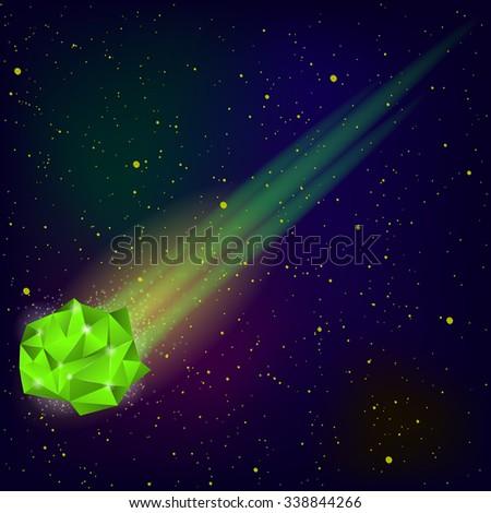 vector green falling meteor on