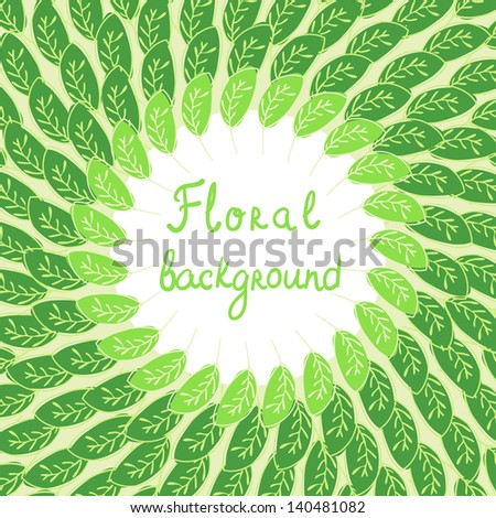 Vector green floral background with foliage