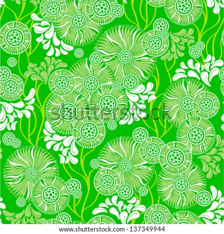 Vector - green flowers (ornate floral pattern seamless)