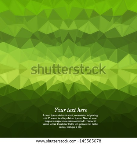 Vector green geometric background - futuristic pattern with many triangles