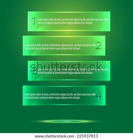 vector green glass banners