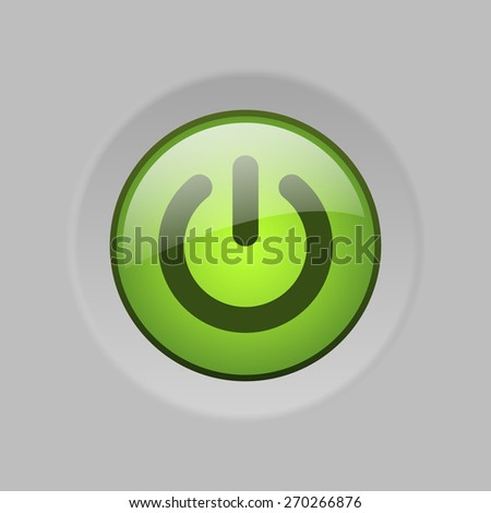 vector green glass button with switch symbol #270266876