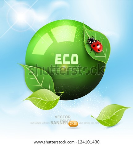 vector green globe with leaves
