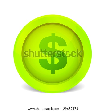 Vector green glossy dollar icon on white