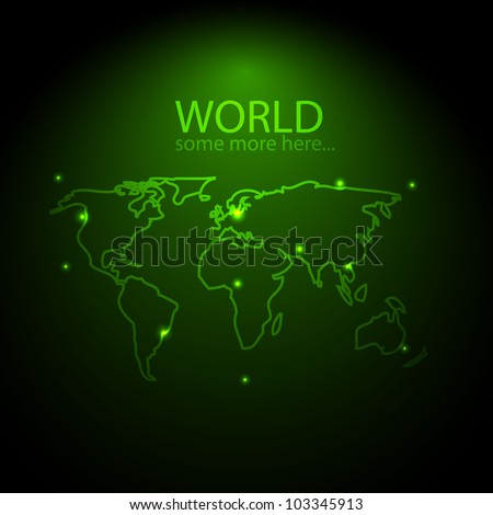Vector green glowing world background