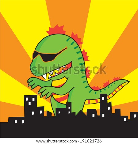 vector green godzilla is