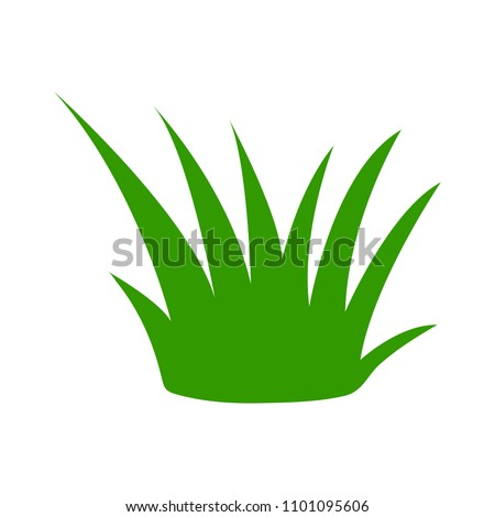 vector green grass illustration isolated, nature icon - garden element, ecology sign