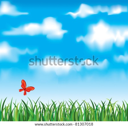 Vector green grass with red butterfly on a white clouds and blue sky background