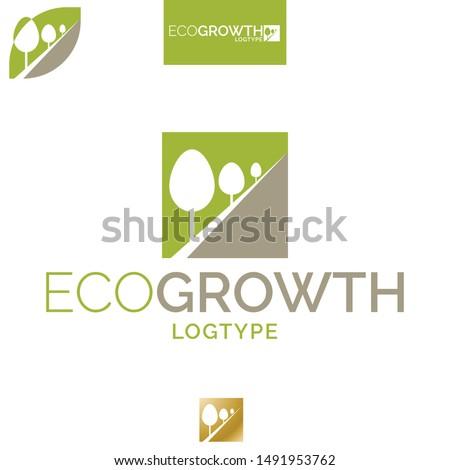 Vector Green Growth, Treeline Logo. Professional Corporate Identity, Visual Identity Icon.