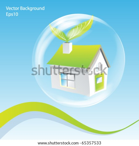 Vector Green House in a Bubble Illustration