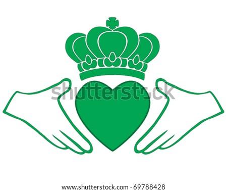 vector green Irish Claddagh, symbol of love, loyalty, and friendship