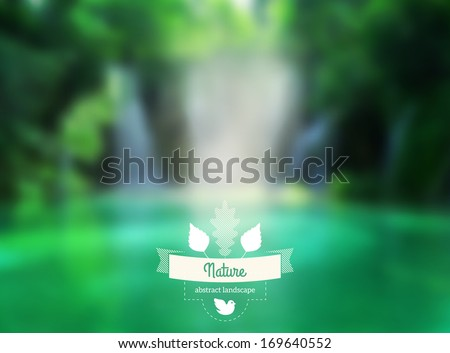 Vector green landscape with hipster badge. Lake view. Waterfall. Retro label design with leaves and ribbon. Retro backdrop. Blur. Maritime. Vector waterfall.