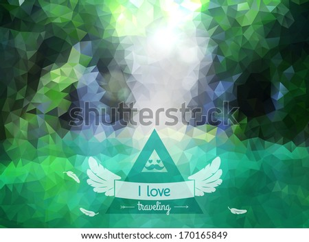 Vector green landscape with hipster badge. Lake view. Waterfall. Retro label design with wings and ribbon. Retro backdrop. Maritime. Vector waterfall. Low-poly colorful style.