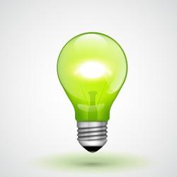 Vector Green Light Bulb