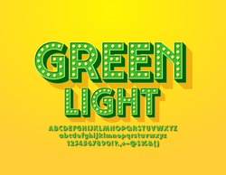 Vector Green Light emblem with trendy Font. Vintage lamp Alphabet. Light bulb bright Letters, Numbers and Symbols