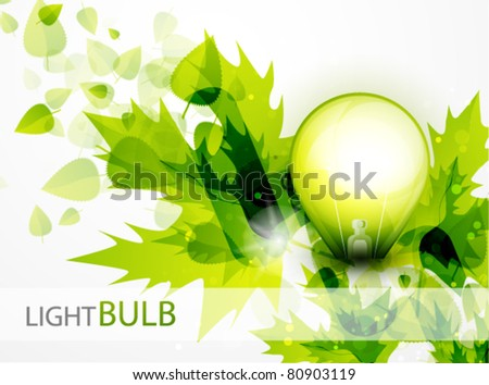 Vector green light. Light bulb and green leaves. Technology and nature connection. Concept