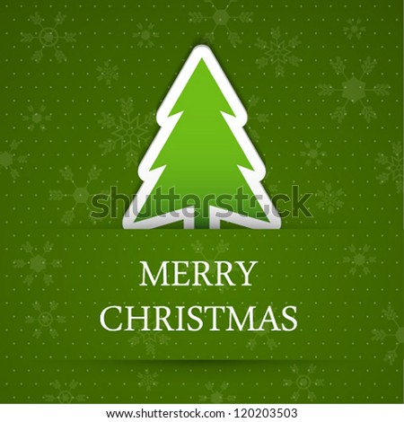 Vector green merry christmas background with fir tree. - stock vector
