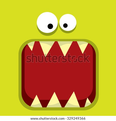 Stock Photo vector  green monster face