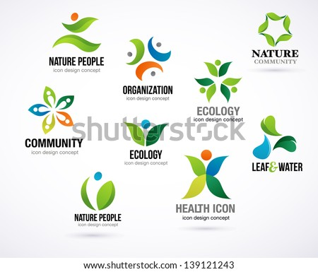 vector green nature symbols