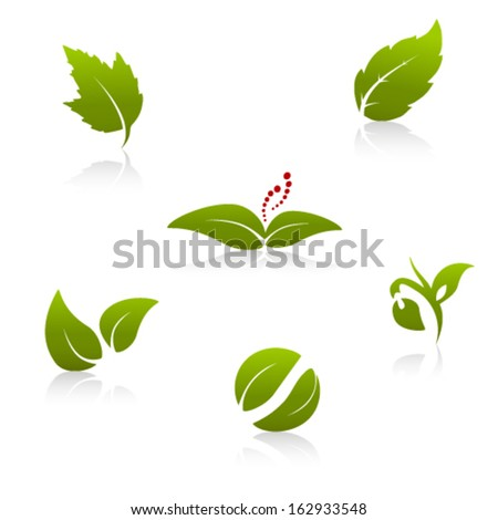 Vector green nature symbols - leaf icon, silhouette with shadow