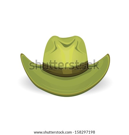 vector green old cowboy hat