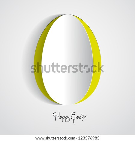 Vector green Paper card with easter egg