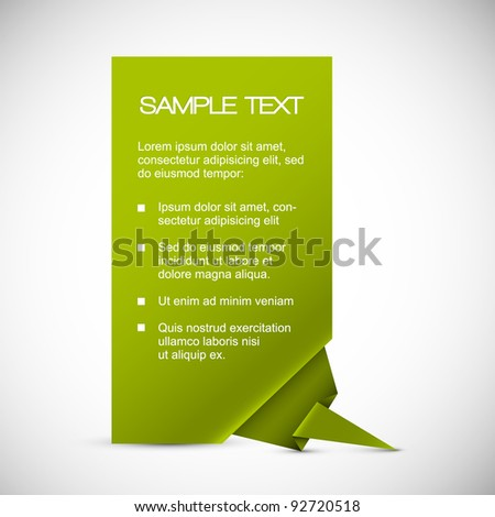 Vector Green Paper card with origami corner
