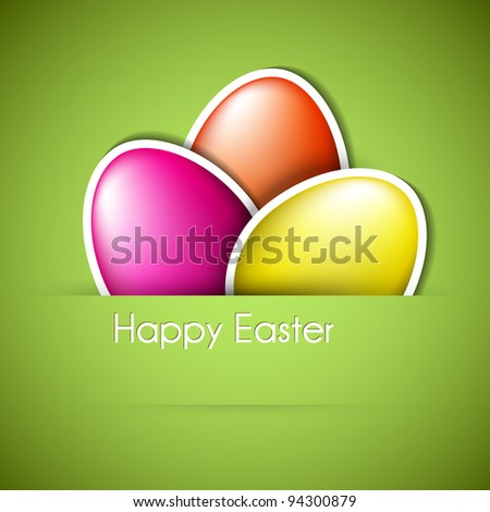 Vector green Paper easter egg card