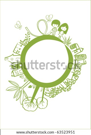 vector - green planet with cute design hand drawing element