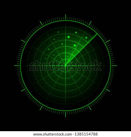 Vector green radar. HUD radar display. Military search system. Vector EPS10. Сток-фото ©
