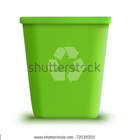 vector green recycle garbage can