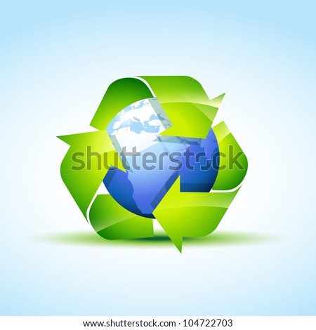 vector green recycle icon covering earth