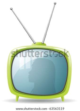 vector green retro tv set
