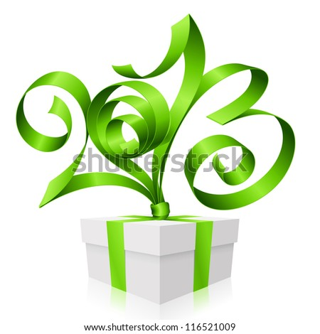 Vector green ribbon in the shape of 2013 and gift box. Symbol of New Year - stock vector