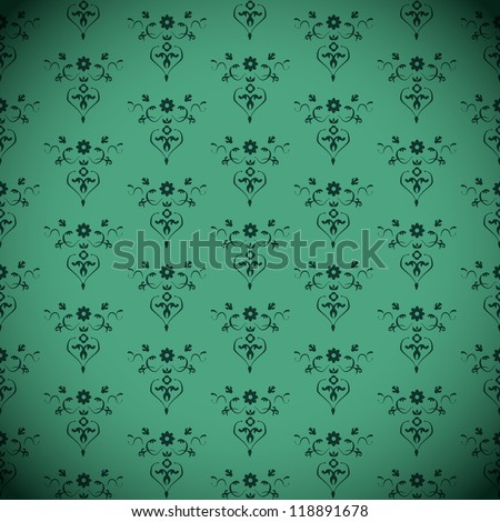 Vector Green Seamless classic Vintage Pattern - stock vector