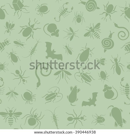 Vector green seamless pattern or background for website of different insects like scorpions, bed bugs and termites for pest control companies. Included some animals like bats, moles, mice and snakes.