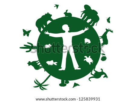 vector green silhouettes of the