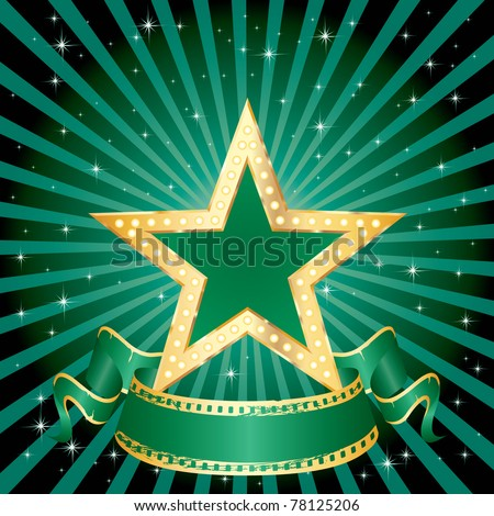 vector green star on the green starry night