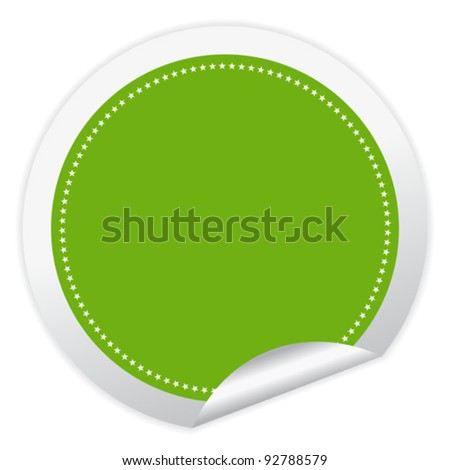 Vector green sticker with curled corner