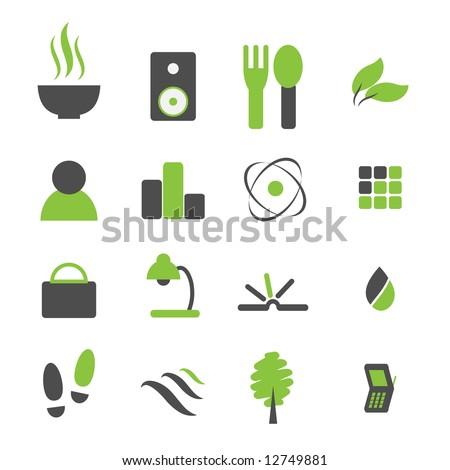 Vector - Green symbol icon set for modern company logo.